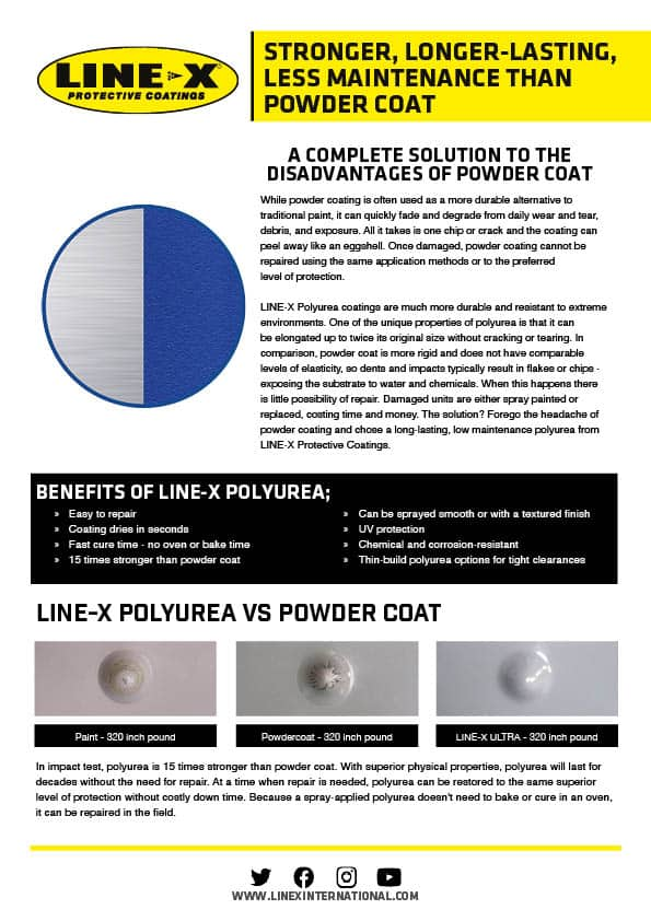 LINE-X.  A Complete Solution To The Disadvantages of Powder Coat